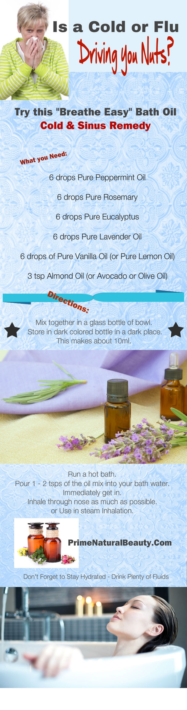 Cold and Flu Remedy Bath Oil infographic